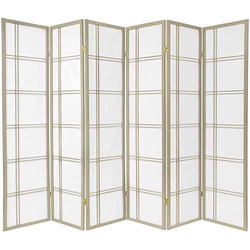 Oriental Furniture 6 ft. Tall Double Cross Shoji Screen - Special Edition - Grey - 6 Panels