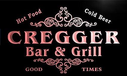 u09508-r Cregger apellido Bar y parrilla cerveza fría luz de ...