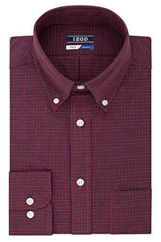 IZOD Men's Dress Shirts Regular Fit Stretch Check, Cerise 16