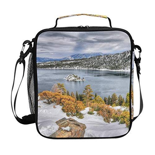 FAJRO USA Lake Seasons Winter Tahoe Calif Lunch Tote Bag Insulated Thermal Cooler Lunch Bag