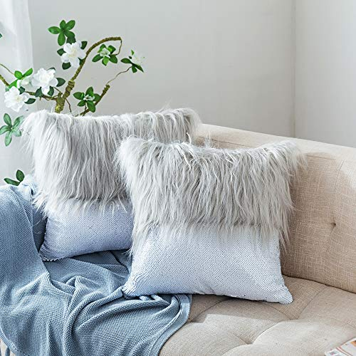 HmiL-U Throw Pillow Covers Reversible Sequins Mermaid + Faux Fur Decorative Pillows Cushion Case for Sofa Bedroom Car New Luxury Series Style 16 x 16 Inch 40 x 40 cm-Grey (2 Pcs) ()