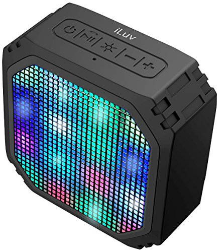 (Aud Mini Party by iLuv (Rugged Dynamic Color LED Portable Bluetooth Speaker) for Apple iPhone, Apple iPad, Samsung GALAXY, Samsung Note, Samsung Tablet, LG, HTC, Google and other Bluetooth Devices (Black LED Mini))