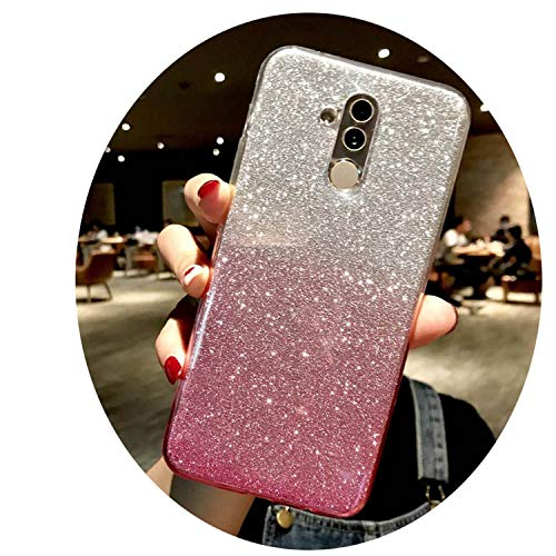 Glitter Rainbow Silicone Bling Case for Mate 20 10 9 8 P20 Lite P10 Honor 7X 6X 6A iPhone X XR XS MAX 6 6S 7 8 Plus Glitter Pink for Mate 10 Lite ()