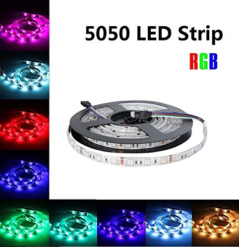 Vlio RGB LED Strip Lights, 16.4Ft/5M SMD 5050 300 LEDs, Waterproof DC 12V, Under Cabinet Strip Lights, Flexible LED Ribbon Rope, Color Changing, DIY Home Kitchen Indoor Car Bar Party Decoration