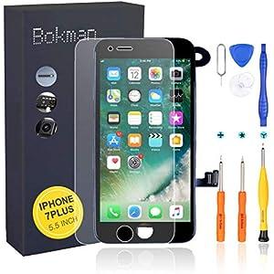 bokman Écran Tactile LCD pour iPhone 7 Plus Noir Vitre LCD Ecran Assemblé avec Capteur de Proximité, Écouteur, Caméra…