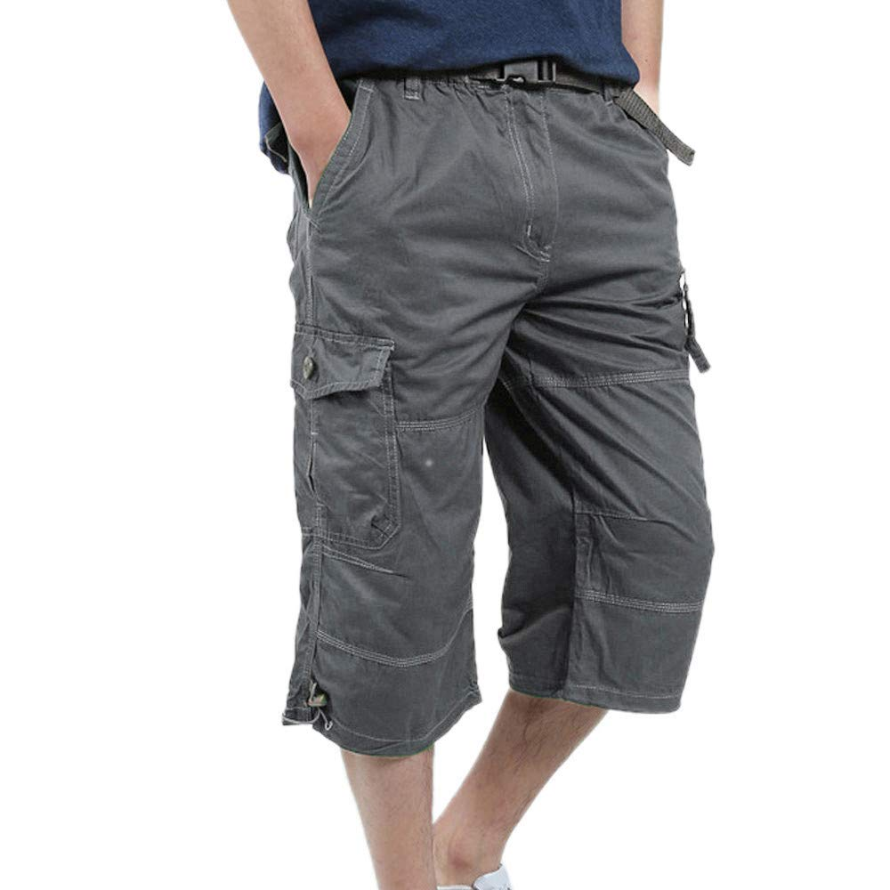 Men's Casual Pure Color Outdoors Pocket Beach Work Trouser Cargo Shorts Pant (XXL, Gray) by HTHJSCO