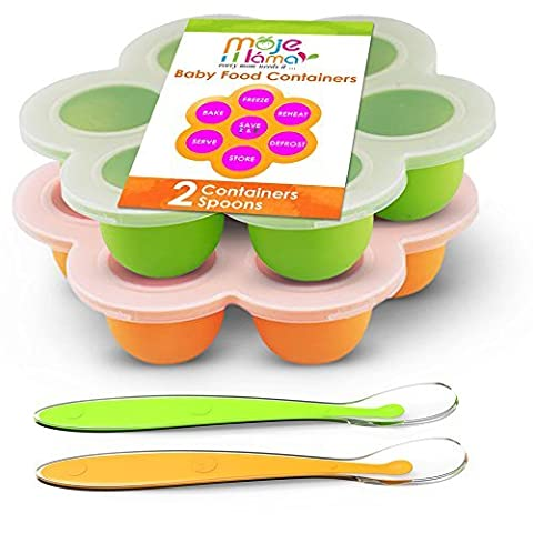 Best Homemade Baby Food Storage Container Freezer Trays - Reusable Food Container Silicon Tray With Clip On Lid - 2 Pack Bundle With 2 Bonus Spoons - BPA Free FDA Approved 2.6 Ounce - Green & - Chocolate Chip Boxed