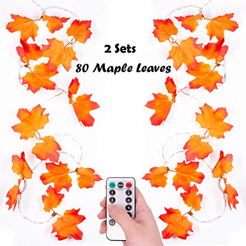 Thanksgiving Decorations Golden Maple Lighted Fall Garland 10ft 20 LEDs 2Pack Maple Leaves Waterproof Battery Operated String Lights with Remote Control Timer for Halloween, Christmas, Decorations (Christmas Maple Leaf Decorations)