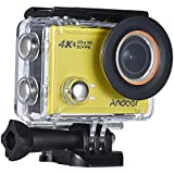 4K Action Camera, Andoer AN100 WIFI Sports Action Video Camera 30MP 1080P/120fps 2.0 IPS Screen 170° Wide Angle Waterproof 45m cam Support Gyro G-sensor FPV External Mic with Hard Case (Yellow)