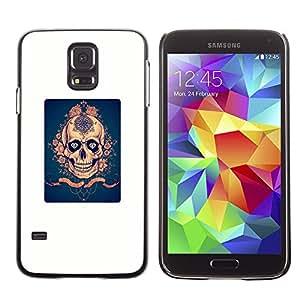 GOODTHINGS ( NO PARA S5 Mini ) Funda Imagen Diseño Carcasa Tapa Trasera Negro Cover Skin Case para Samsung Galaxy S5 SM-G900 - rosa azul del cartel de oro blanco de miedo