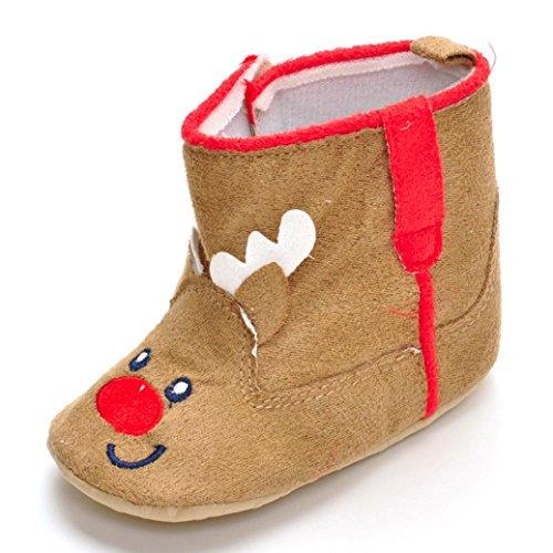 Huhu833 Neugeborene Soft Crib Schuhe Kleinkind Stiefel, Weihnachts Karikatur Krippe Schuhe, Weiche Alleinige Anti Rutsch Schuhe Khaki