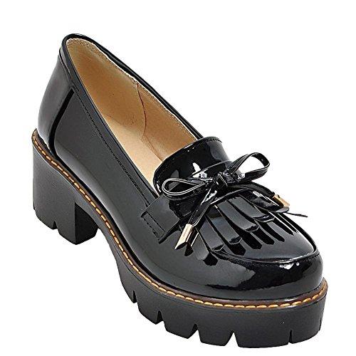 Mid Black Charm Shoes Bows Womens Loafers Foot Chunky Platform Heel Tassels qp6pvwBX