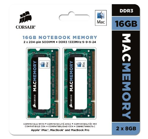 Corsair Apple Certified 16GB (2 x 8GB) DDR3 1333 MHz (PC3 10600) Laptop Memory for Mac Model CMSA16GX3M2A1333C9 (Apple Mac Pro Memory)