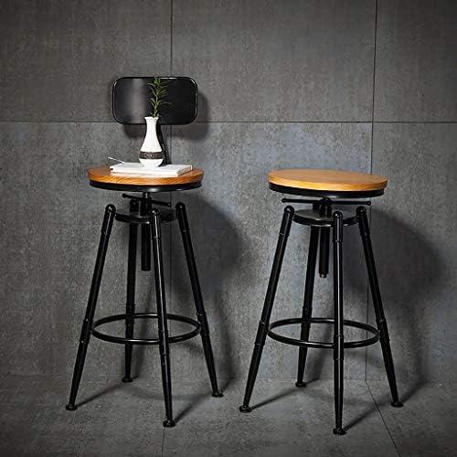 Loft Iron Art Bar Chaise pour Restaurant Café Tea Shop Chaise pivotante en Bois Massif LI Jing Shop (Size : 34X92-112cm)