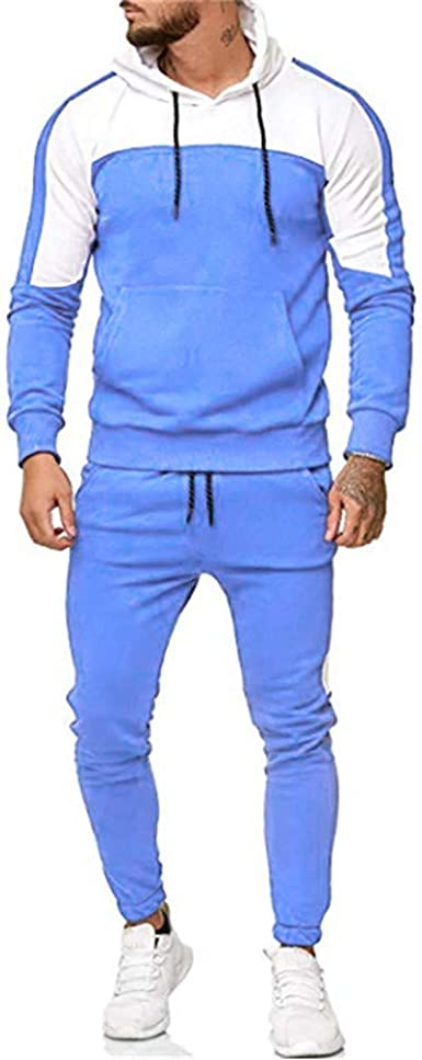 Snowmolle Mens Jogging Full Zipper Tracksuits Long Sleeve Hoodies Gym Joggers Set Colorblock Patchwork Sport Suits