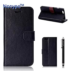 iPhone 6 Case, Nccypo Luxury PU Leather Magnet Wallet Slim Protective iPhone 6 Skin Cover For Apple iPhone 6[Black] with Credit Cards Slots and Stylus