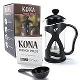KONA French Press Small Single Serve Coffee and Tea Maker, Black 12 Ounce