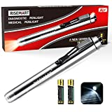 RISEMART Medical Pen Light for Nurses Led Penlight with Pupil Gauge for Doctors Students Nursing White Light with Batteries(Silver)