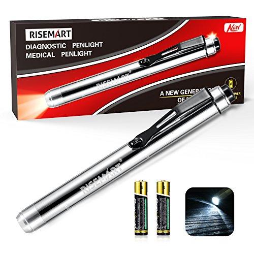 RISEMART Medical Pen Light for Nurses Led Penlight with Pupil Gauge for Doctors Students Nursing White Light with (Doctor Light)