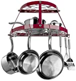 Range Kleen CW6003R, Red Enameled, 2 Shelf Wall Mounted Pot Rack