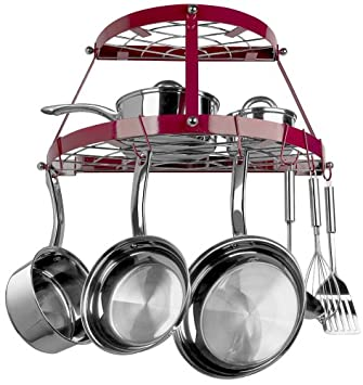 Range Kleen 2-Shelf Wall Mount Pot Rack, Red CW6003R