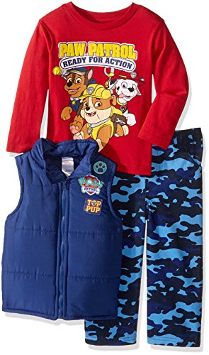 (Nickelodeon Boys' Toddler Boys' Paw Patrol 3 Piece Vest Set with Camo Pants and T-Shirt, Blue, 2T)