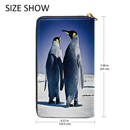 Blue2 Leather Handbag Penguins Zipper Clutch Long Passport Wallet genuine Purse Leather ALAZA qz0Ftgwg