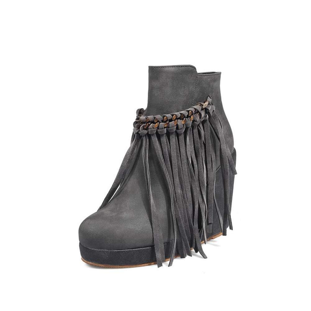 Damen Quaste Keil Hochhackig Mode Stiefel Runder Kopf Seitlicher Reißverschluss Warm halten Wildleder Stiefelies Freizeit Täglich Stiefel (Absatzhöhe  10cm)