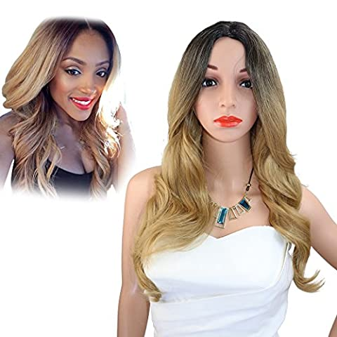 Kalyss 24 Inches Long wavy Dark Rooted Ombre Black to Blonde Synthetic Hair Wig with Lace & Skin (Status Of A Returned Item)