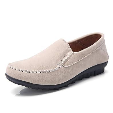 Zapatos De Mujer Soft Flats Mocasines De Cuero De Gamuza Slip On Solid Round Toe Lycra Mocasines Casual para Mujer: Amazon.es: Zapatos y complementos