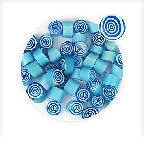 - Light Blue Swirl Patter Millefiori Glass Loose Beads for Earring Bracelet Pendant Making