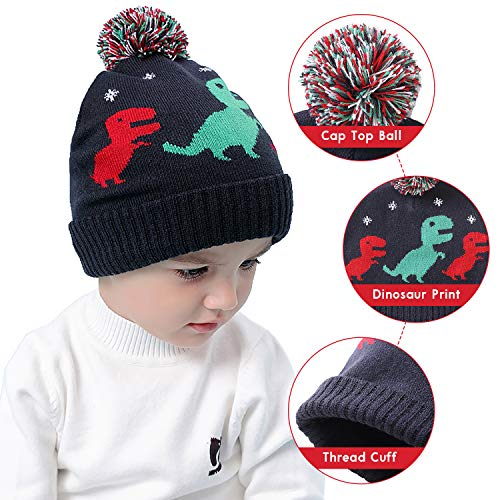 RUHI Baby Hat Flexible Toddler Winter Hat Skin-Friendly Material Dinosaur  Beanie 2a356516ed9