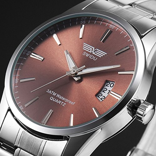 New Men's Watch Stainless Steel Band Date Analog Quartz Sport Wrist Watch Army, Unisex Fashion Lovely And High Quality Sports Watch!, 100% New and high (Date Tachymeter)