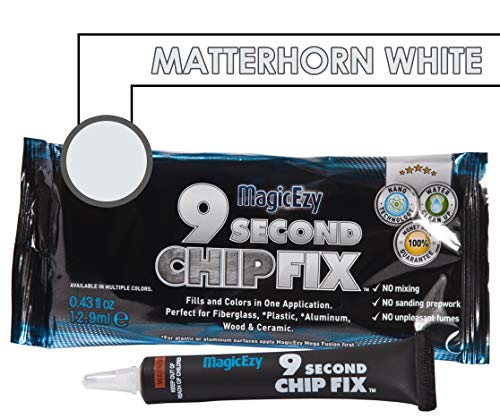 MagicEzy 9 Second Chip Fix (Matterhorn White) - Fiberglass Chip Repair - Fills and Colors Damage Fast - Gelcoat Repair Kit (Glass Chips 1/2)