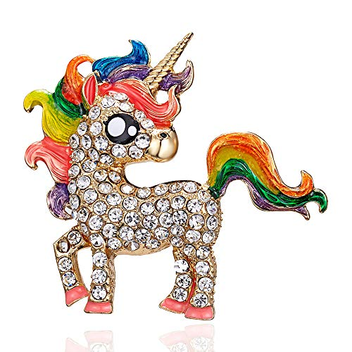 Cartoon Rainbow Lucky Unicorn Horse Brooch Pin Badge Pins for Women Charm Enamel Animal Brooches Clothes Jewelry (Colorful)