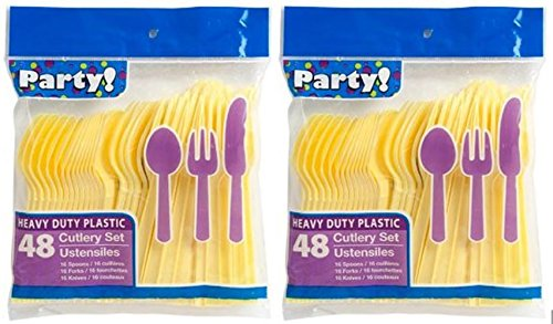 (Heavy Duty Plastic Cutlery Set in Yellow - 32 Spoons, 32 Forks, 32 Knives)