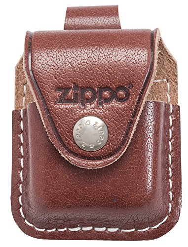 Brown Michigan Leather - Zippo Lighter Pouch with Loop, Brown