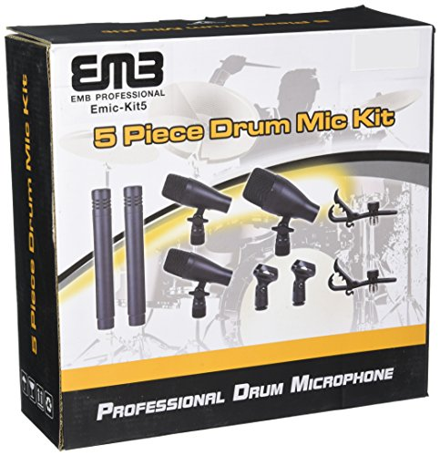 EMB EMIC-KIT5 Professional Drum Set Series 7 Piece Mic Kit For Studio Recording, Stage Performance Microphones (Hi Hat Mic)