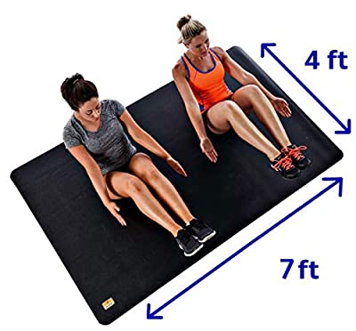 """Pogamat Large Exercise Mat and Thick Yoga Mat - 7' X 4' X 1/4"""" Durable Workout Mat for All Exercises. Floor Mats for Home Gym Mat - Pilates Mat - Large Yoga Mats. Used with or Without Workout Shoes"""