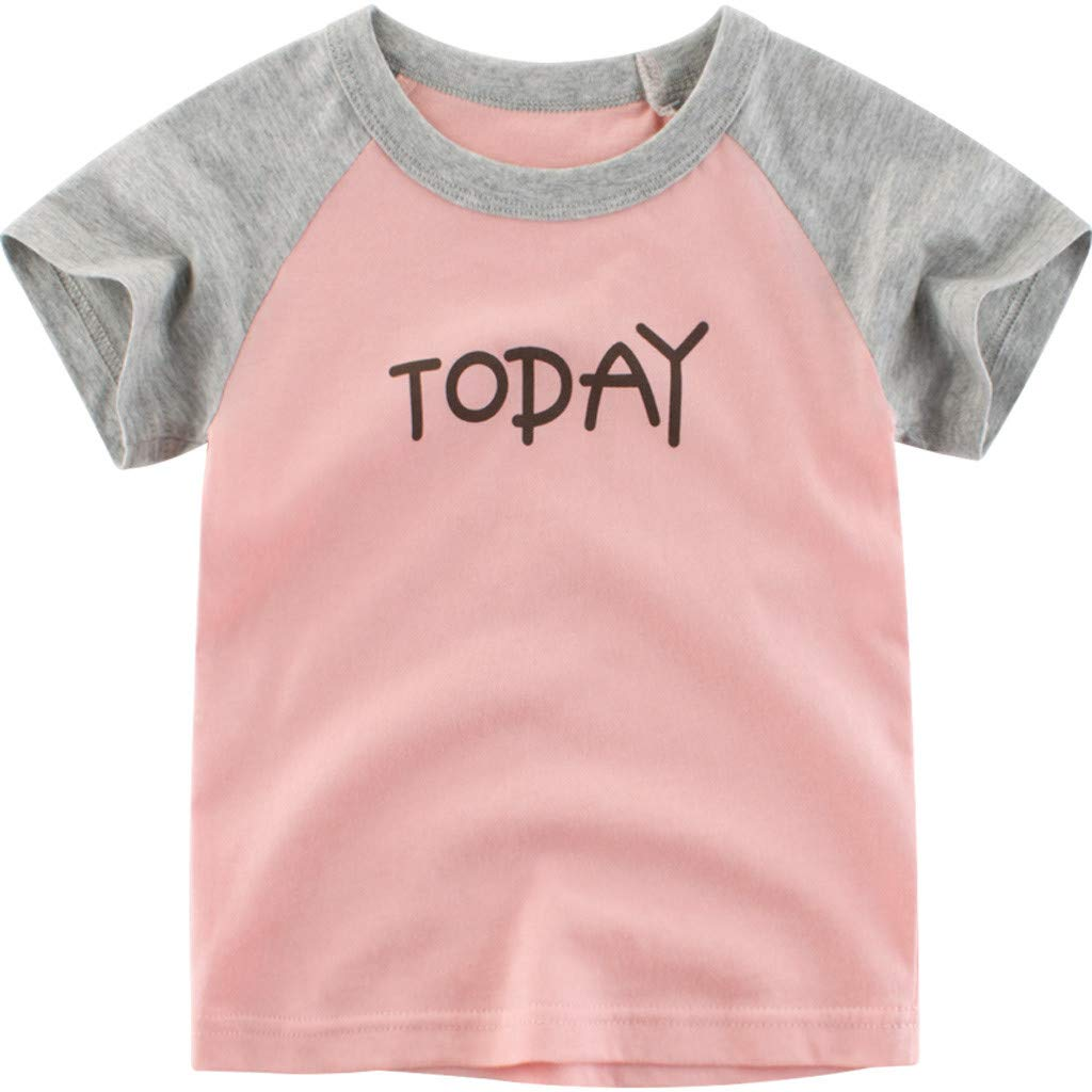 Jchen Little Boys Letter Print Tops, Summer Kids Baby Boys Short Sleeve Color Block Splice Tee Tops T-Shirt Tee for 1-6 Yrs (Age:18-24 Months, Pink)