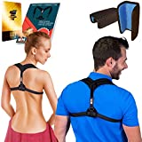 Only1MILLION Posture Corrector for Women & Men for Fix Upper Back Pain – Adjustable Posture Brace for Improve Bad Posture | Thoracic Kyphosis Brace | Posture Support (Black/Black)