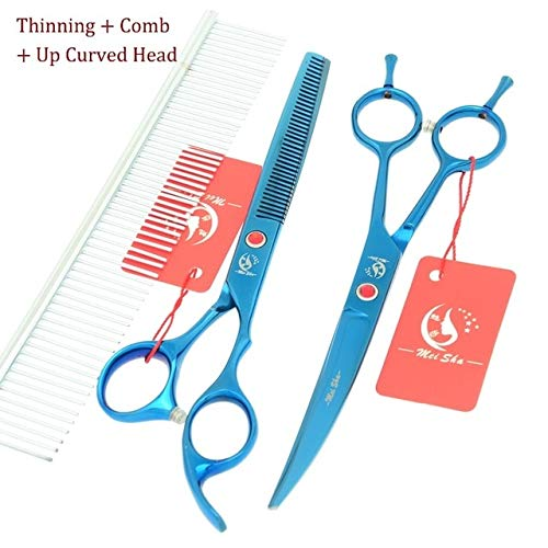 Shoppy Star  7.0Inch Meisha bluee Pet Grooming Scissors Set with Comb Bag Dog Cutting Tool 6.5Inch Thinning Shears Puppy Trimmer Tool HB0119  HB0122 and HB0124