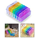 OFKPO 7 Days Weekly Pill Box Organizer with 4 Compartments for Medicine Tablet Vitamin Moisture-Proof Containers
