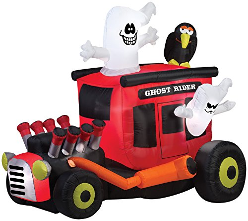 UHC Airblown Inflatable Ghost Rider Hot Rod Horror Party Halloween Decoration