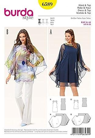 Burda Frauen einfaches Schnittmuster 6589 doppelte Schicht, Kleid ...