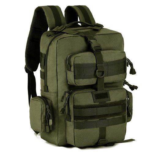 JWBB militärischen Fans taktischer Schultertasche, Männer und Frauen outdoor Sport wasserdichte Rucksack 14 Zoll Laptoptasche Travel, Schultasche, Angeln Tasche Tide Militär grün