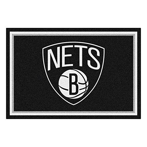 (FANMATS NBA Brooklyn Nets Nylon Face 5X8 Plush Rug)