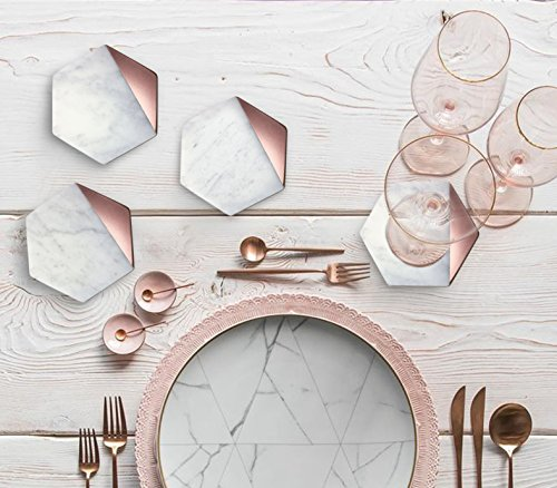Hexagon Marble Rose Gold Painted Coaster Set of 4 Drink Coasters, Bar Coasters or Home Décor