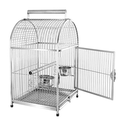 Pawhut 25 Dome Top Stainless Steel Travel Bird Cage