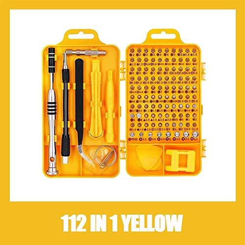 112 1つのドライバーセット磁気ドライバービットトルクスマルチ携帯電話の修復ツールキット電子デバイスハンドツールで (Color : 112 IN 1 YELLOW)